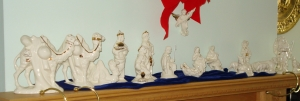 My mother painted this porceline Nativity set many years ago. I sits on the mantle every Christmas season