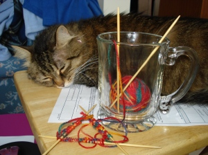 My knitting mug, and Willow who has no interest in knitting unlike Jack.