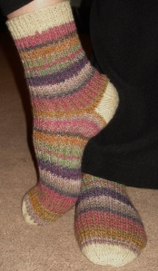 Comfy, no fuss socks, super easy for the nonsock knitter!